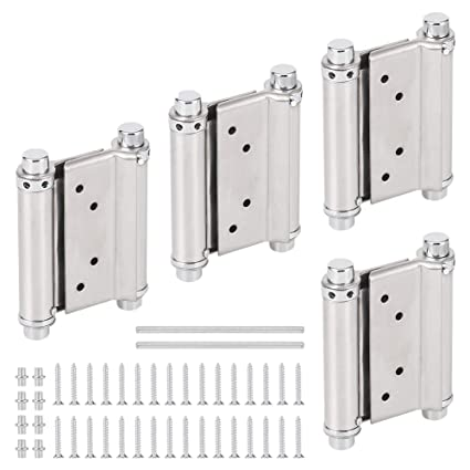 GLANICS 3 Inch Door Hinges Stainless Steel Double Radius Corners Spring  Two Way Free Closed