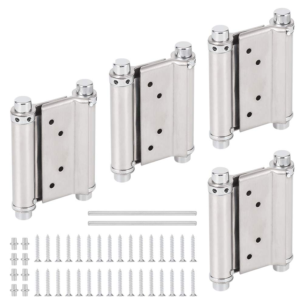 GLANICS 3 inch Door Hinges Stainless Steel Double Radius Corners Spring Two-Way Free Closed Door Adjustment for Bar Pub Swinging Cafe Doors, 4 Pack