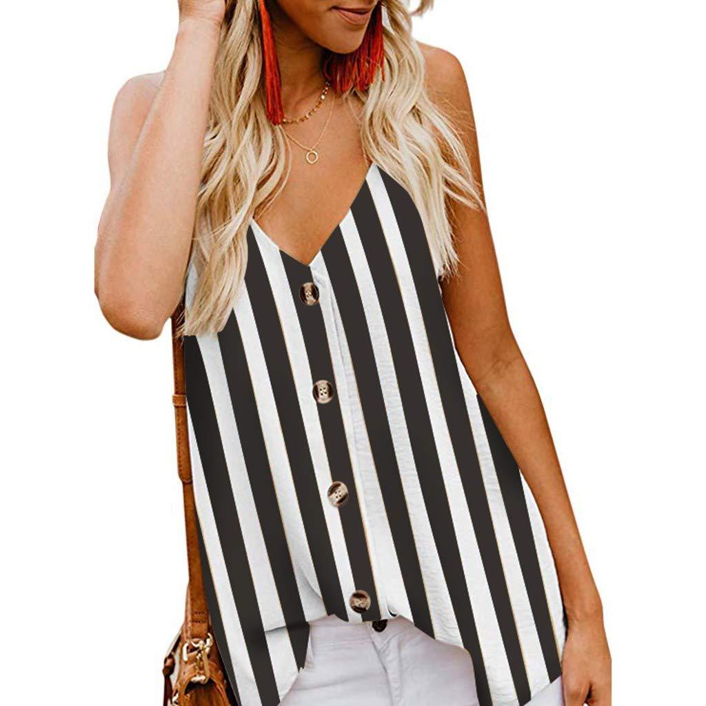 Dasuy Women's Cotton Sleeveless Button Down Shirt Women V Neck Striped Strappy Cami Tank Tops Sexy Vest Blouses (XXL, Black)