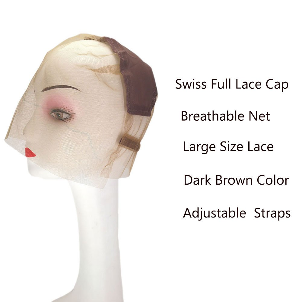 ItsUHair Full Lace Wig Cap with Adjustable Straps Best Quality Breathable Swiss Lace Wig Caps for Women for DIY Making Wigs with Free Combs(Brown) by ItsUHair (Image #2)