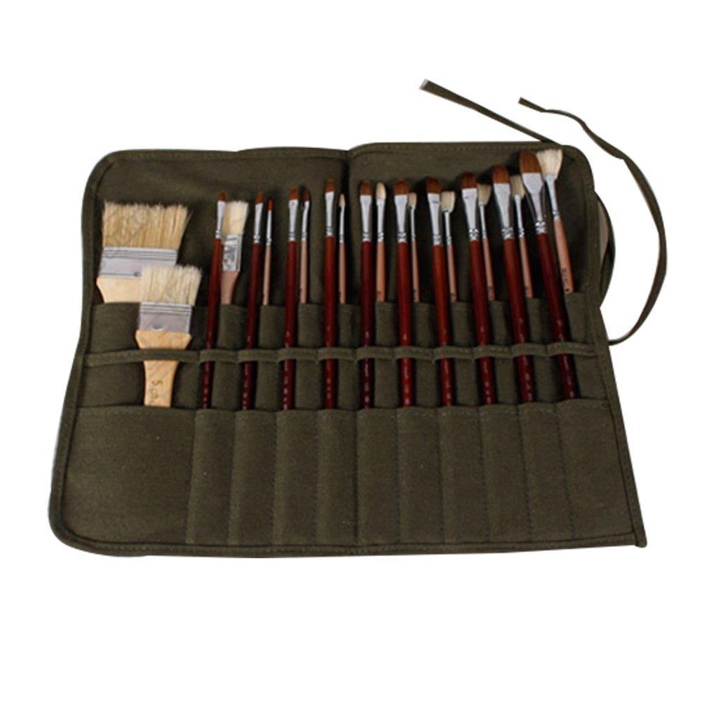 Woopower Pennello Holder, 22schede pennello contenitore per olio acrilico acquerello guazzo artista pennello rotolo di tela sacchetto
