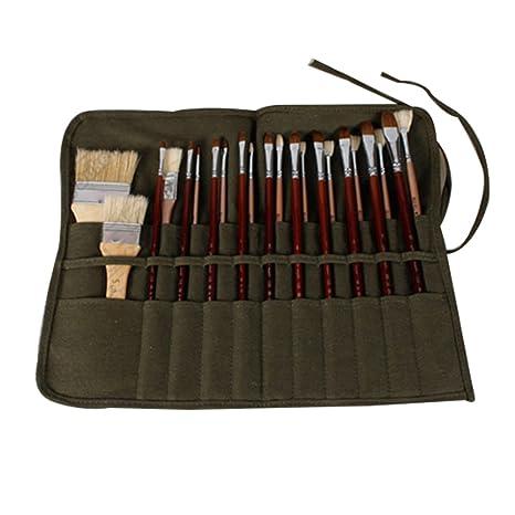 Estuche enrollable para pinceles de pintura, 22 ranuras, bolsa para pinceles de pintura, lona verde militar