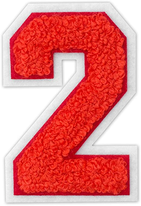 12 Colors School Number Patch MADE IN USA. Chenille Varsity Number Patches 0-9