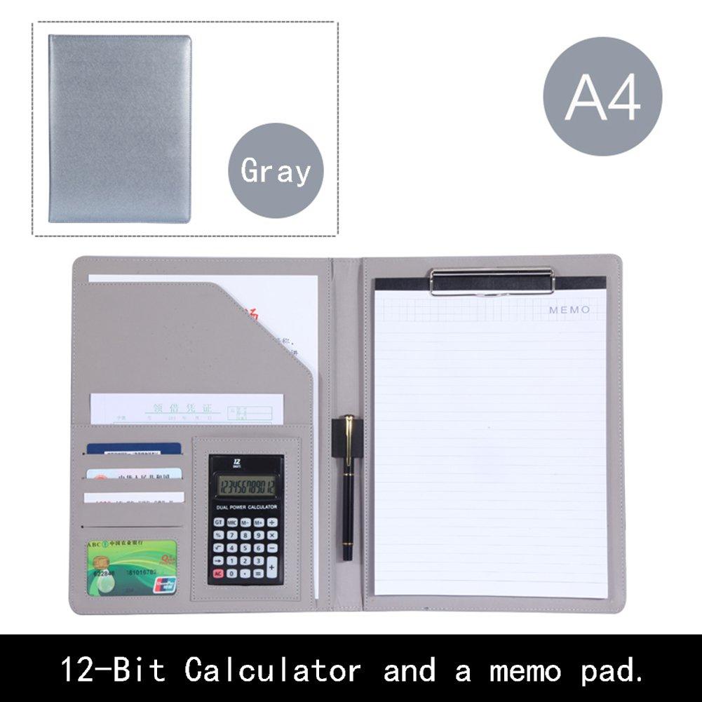 Cartella notebook A4con calcolatrice e penna memo diario carta di credito slot PU Stationary Book documenti supporto multi-funzione Notepad Blue BenHu