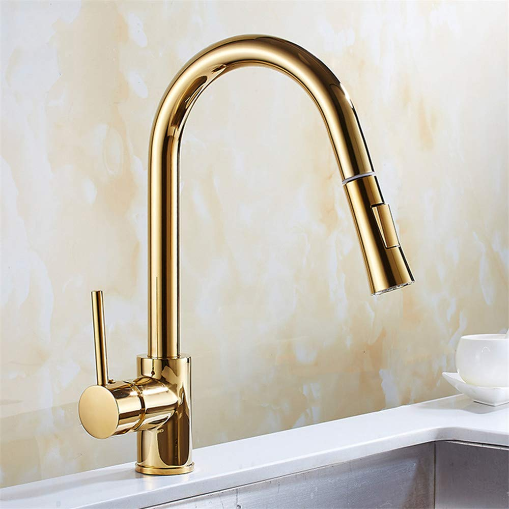YEE Basin Sink Faucet, Pull Out Water Tap Gold, 2 Mode Spray Spout Brass Single Handle Single Hole Kitchen Faucet