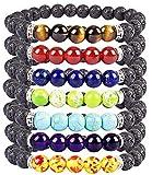 Casoty 7 Chakras Bracelet Set of 7 - Volcano Lava Rock Natural Stone Beads Healing Yoga Bracelets