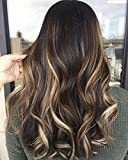 Cheap Moresoo Medium Length 18 Inch Real Hair Extensions 7pcs/120g Clip in Human Hair Extensions #1B Highlighted with #5 Brown and #27 and #60 Blonde Remy Hair Extensions