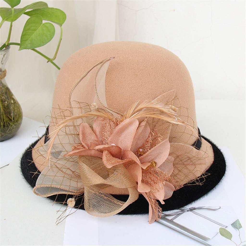Winterhut mit Blumenapplikation weiche Wolle SKays Eleganter klassischer Damenhut Cloche