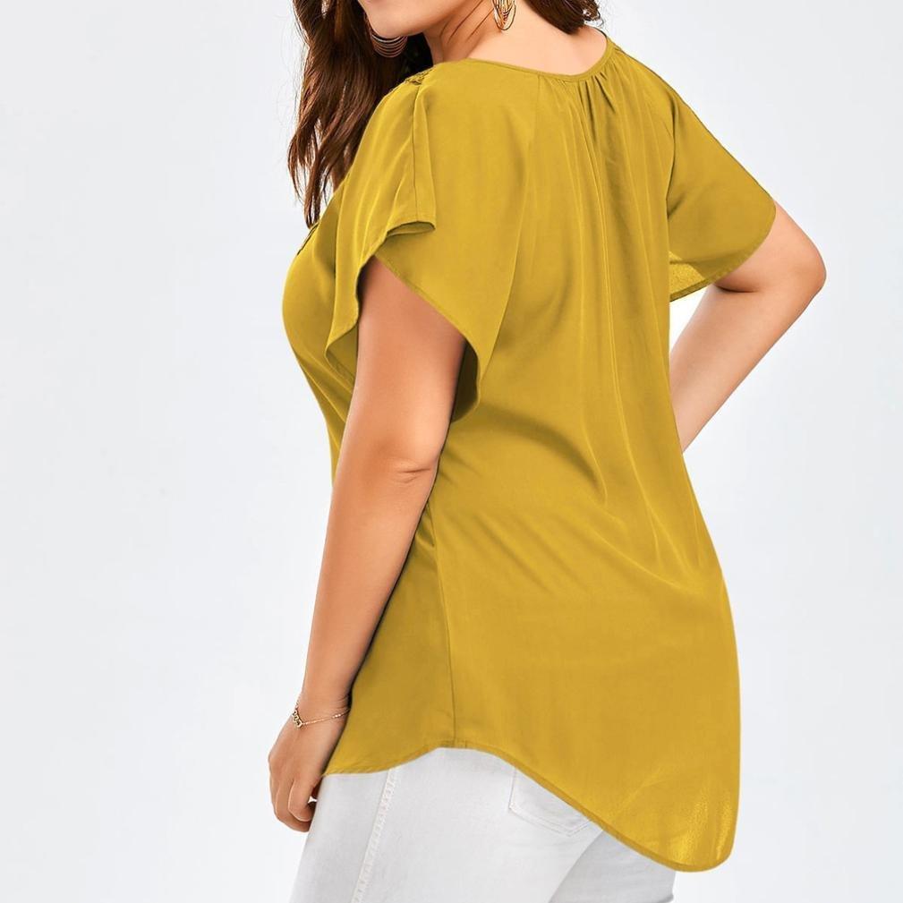 ❤ Camiseta de Mujer Empalme de Encaje, Blusa de Manga Corta de Encaje Curve Appeal Bat Tops de Tallas Grandes Absolute: Amazon.es: Ropa y accesorios