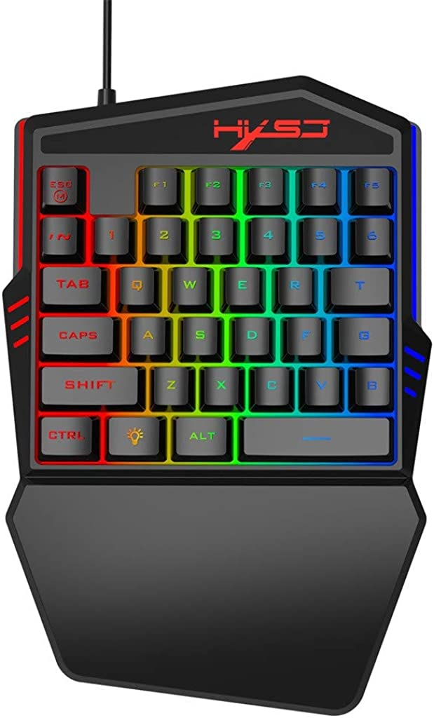 ❤️Jonerytime❤️HXSJ HZ22 Ergonomic Multicolor Backlight One-Handed Game Wired Keyboard+Mouse Black