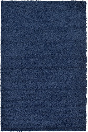 A2Z Rug Cozy Shaggy Collection 5x8-Feet Solid Area Rug - Sapphire Blue ()