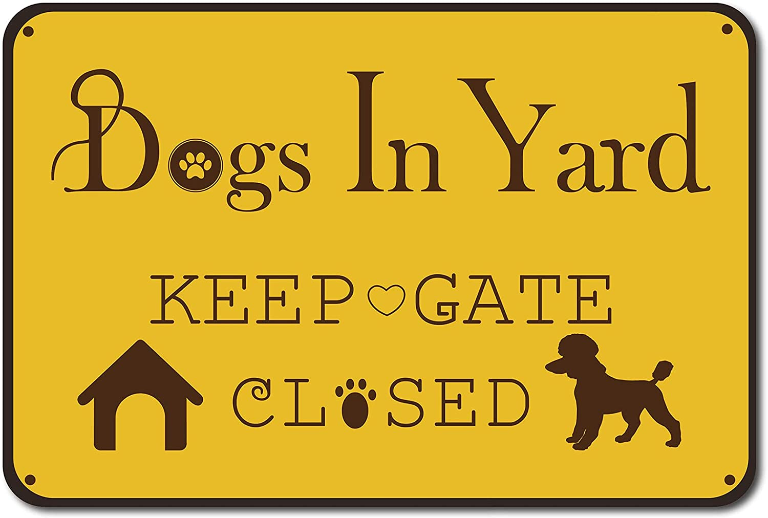 CREATCABIN Please Keep Gate Closed Dogs in Yard Reto Vintage Metal Tin Signs for Lawn Garden Wall Art Decor