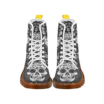 D-Story Shoes Skull Lace Up Martin Boots For Women