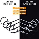 500 Pack of White & Black Zip Ties, 8 inch Heavy