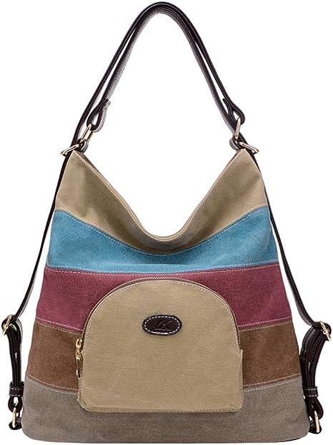 Pb Soar Damen Vintage Canvas Schultertasche Rucksack Handtasche Freizeittasche Vielseitige Tasche Khaki Amazon De Koffer Rucksacke Taschen