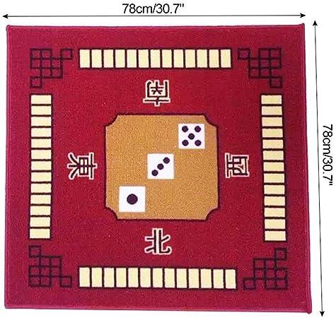 LEERAIN Cubierta De Mesa Cuadrada,Estera La Cubierta Mesa Juego Mahjong,Estera Tabla Mahjong,para El Juego La Fiesta Familiar Poker Azulejo Domino Juegos Cartas Mahjong (78cm X 78cm),Red: Amazon.es: Hogar