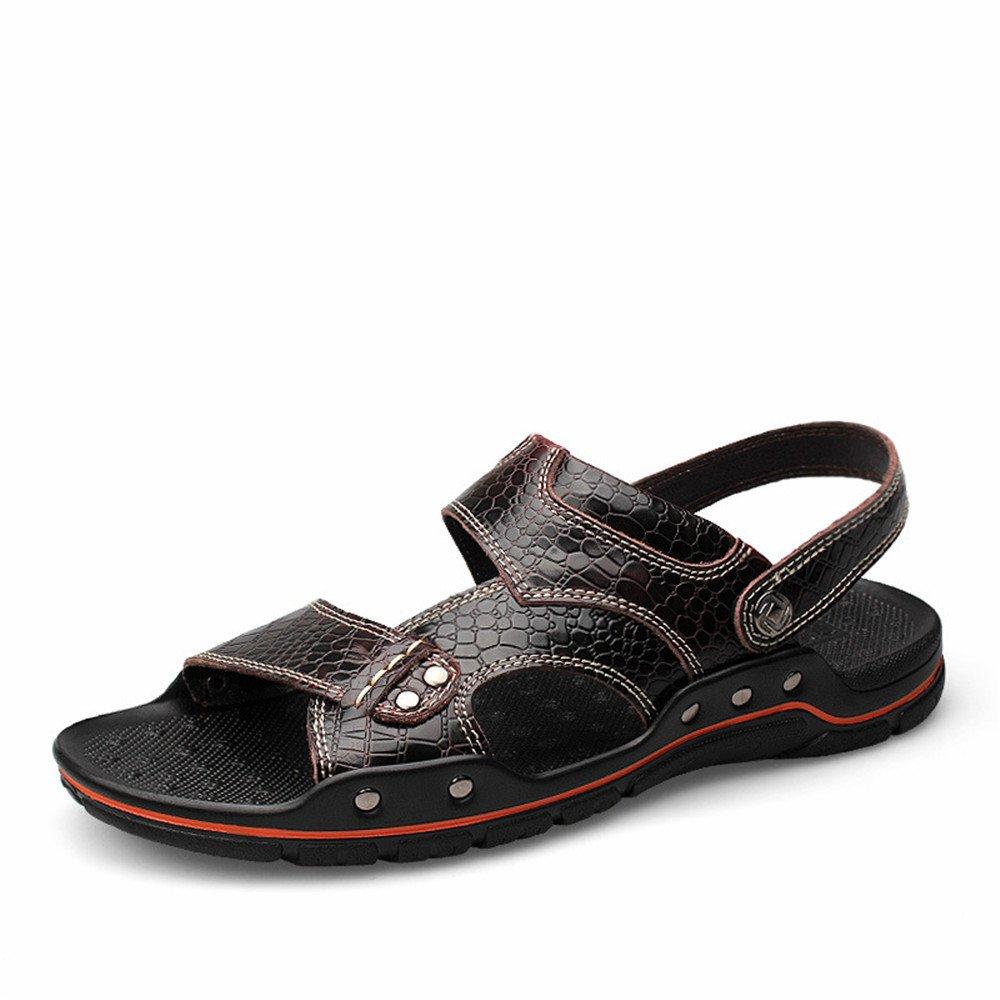 Sandalias respirables de cuero ocasionales del dedo del pie de los hombres sandalias antideslizantes ajustables de la playa del verano convenientes para los deportes de ocio interiores y al aire libre 40 2/3 EU Dark Red
