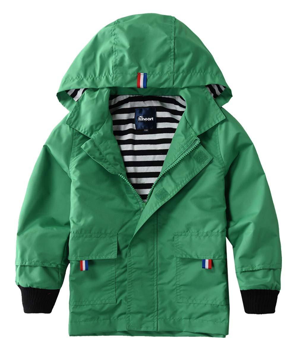 Hiheart Boys Waterproof Hooded Jackets Cotton Lined Rain Jackets Green 4/5