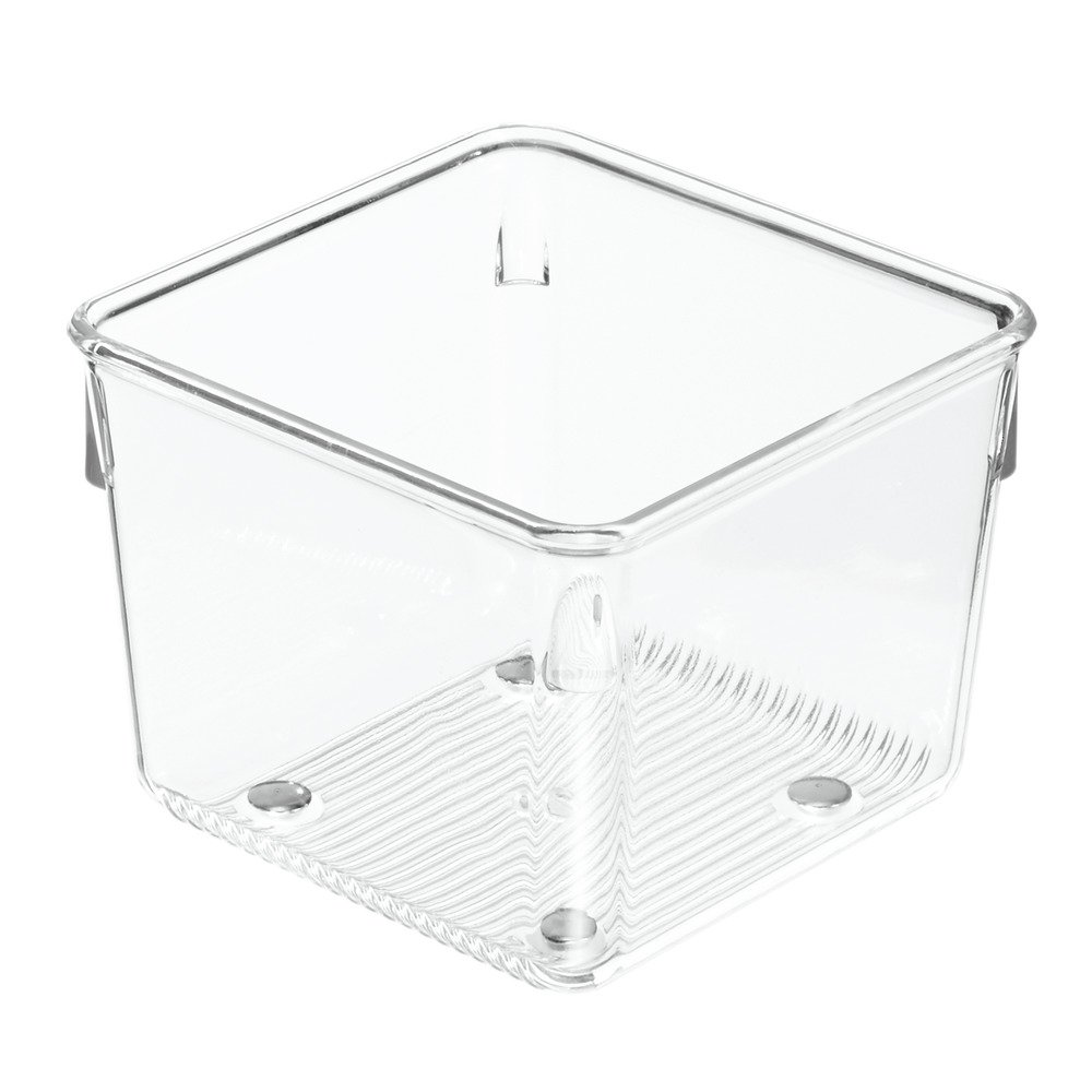 InterDesign Linus Kitchen Drawer Organizer for Utensils, Gadgets, Tools - 4 x 4 x 3, Clear 52730