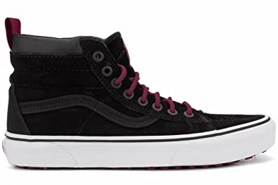 Amazon Com Vans Mens Sk8 Hi Mte Black Beet Red Sneaker 8