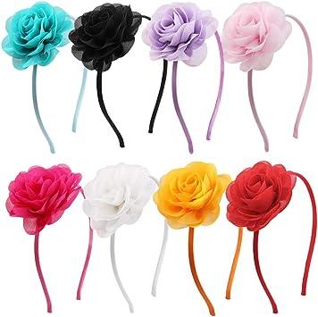 8Pcs Simulación Rose Hair Hoops Broche de pelo de flor artificial ...
