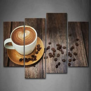 Firstwallart Brown Coffee With Heart Pattern In White Cup Wall Art Painting The Picture Print On Canvas Food Pictures For Home Decor Decoration Gift