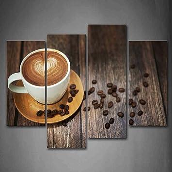 Braun Kaffee Mit Herz Muster Im Weiß Tasse Wandkunst Malerei Das Bild Druck  Auf Leinwand Essen