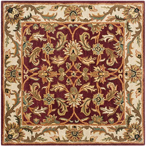 Safavieh Heritage Collection HG628D Handcrafted Traditional Oriental Red and Ivory Wool Square Area Rug (4' Square)