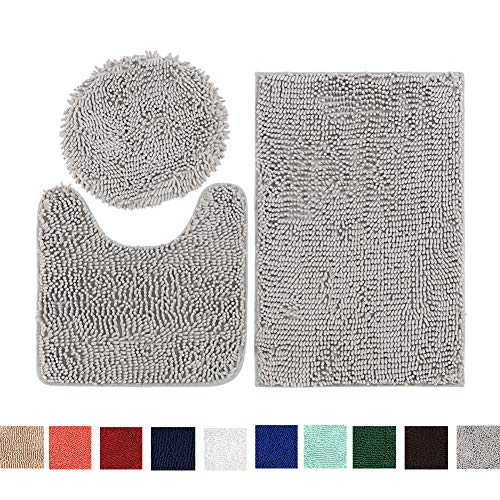 Chenille Bathroom Rugs Set | 3 Piece Grey Mat Set, Soft Shaggy Non-Slip Bath Mat U-Shaped & Round Toilet Floor Rug Mats for Tub Shower Rugs ()