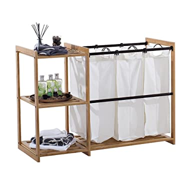 Trinity TBFPBR-2100 3 Bag Bamboo Laundry Station, Bronze