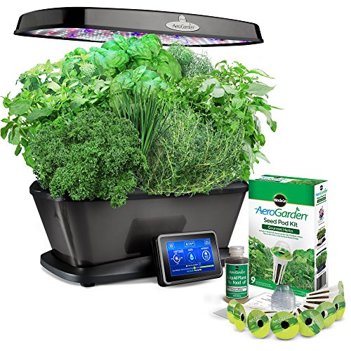 Miracle-Gro AeroGarden Bounty Elite with Gourmet Herb Seed Pod Kit, Platinum
