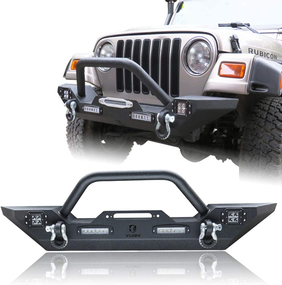 LEDKINGDOMUS Rock Crawler Front Bumper for 87-06 Jeep Wrangler TJ//YJ with Winch Plate /& LED Lights Heavy Duty Textured Black