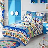 TRANSPORTATION BOYS CHIC COLLECTION REVERSIBLE COMFORTER SET,SHEET SET AND WINDOWS PANELS 12 PCS FULL SIZE