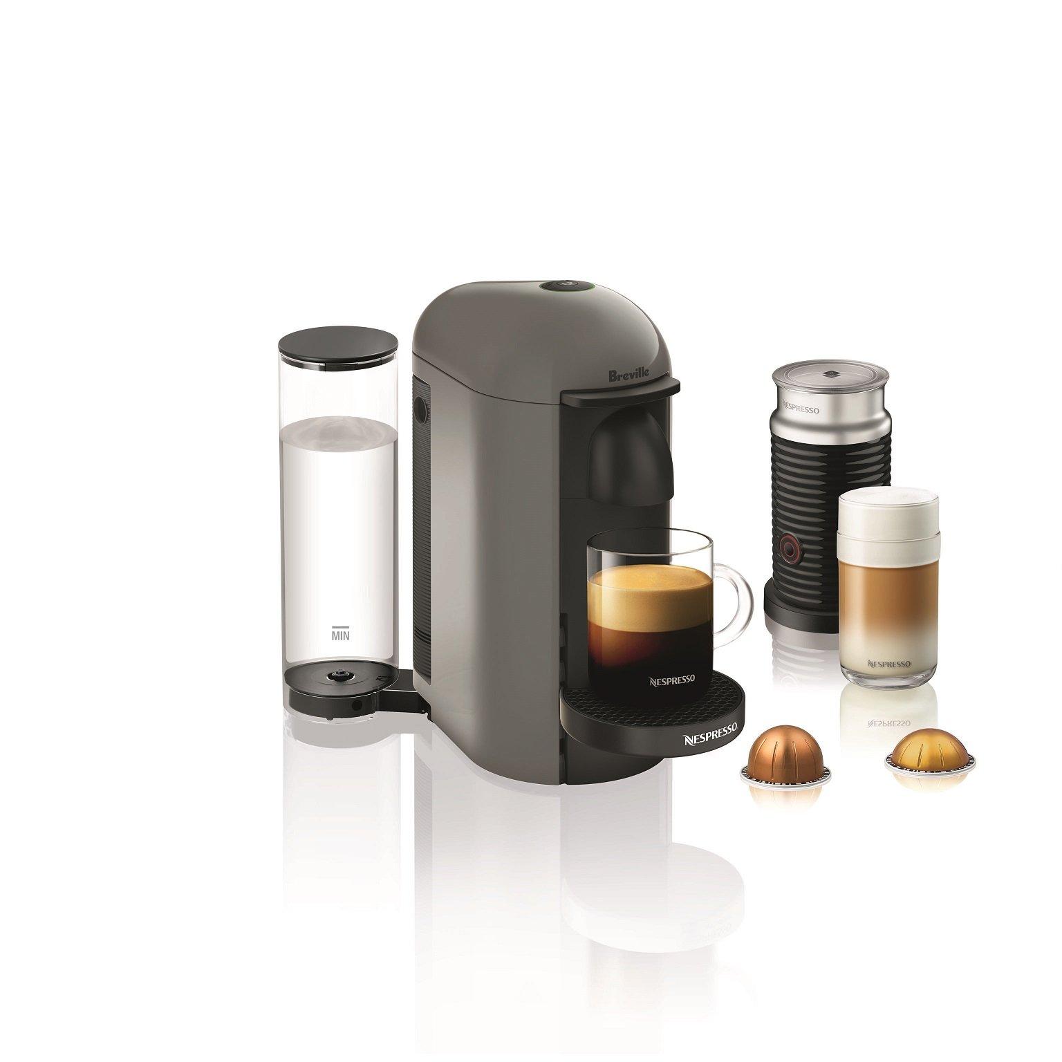 Nespresso VertuoPlus Coffee and Espresso Machine Bundle with Aeroccino Milk Frother by Breville, Grey