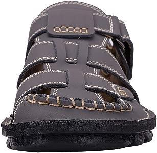 YAER Sandalias de Cuero al Aire Libre de Los Hombres, Zapatos de Playa con Punta Cerrada de Verano