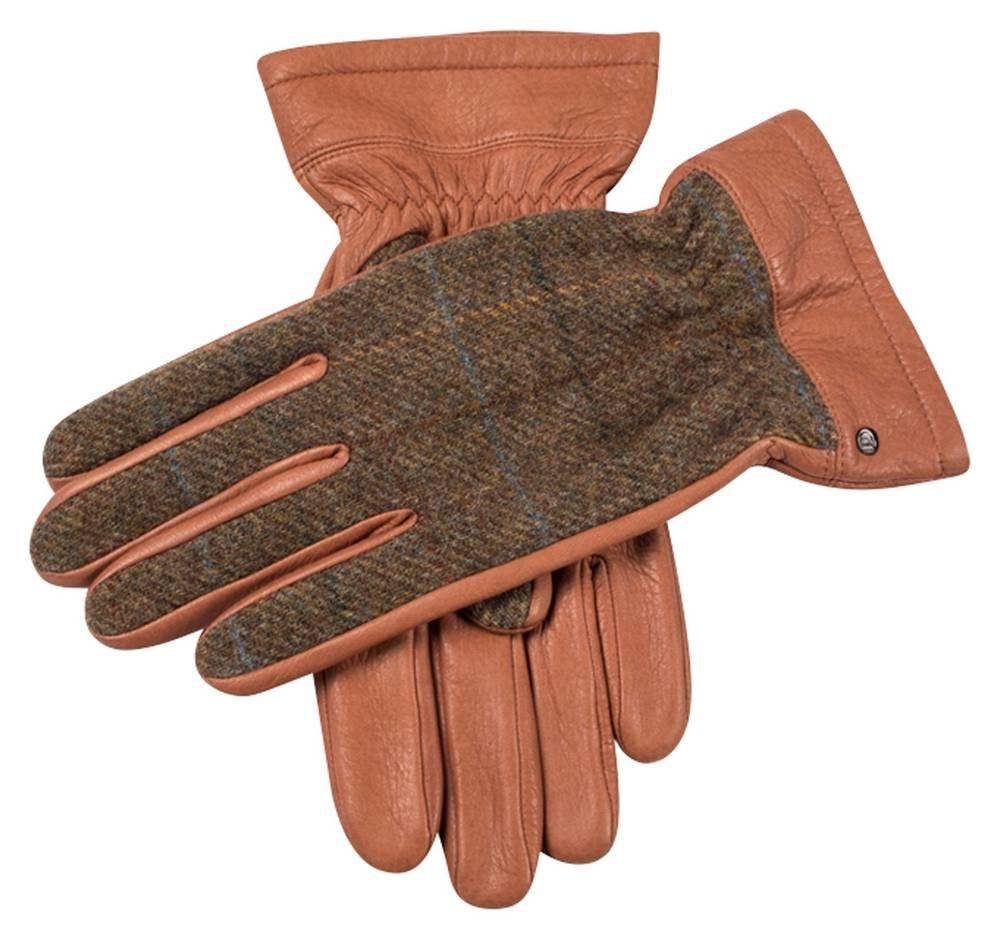 Havana Brown/Chestnut Richmond Cashmere Lined Deerskin Leather Abraham Moon Gloves by Dents - Large
