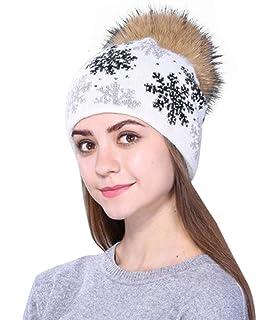Feoya® Femme Bonnet Hiver Bonnet Pompons Tricot Chaud Casquette Bonnet en Tricot  Femmes Ski Chapeau Bonnet… c42d1417cca