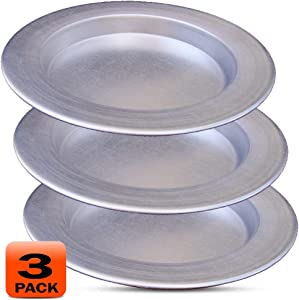 Frigya Kunefe Plate - Cooking and Serving Plates for Shredded Kadaifi, kunafa knafe knafeh Phyllo, Fillo Dough Pan - Set of 3 Silver Color Aluminum Pans ( Compatible for frozen kunefe )