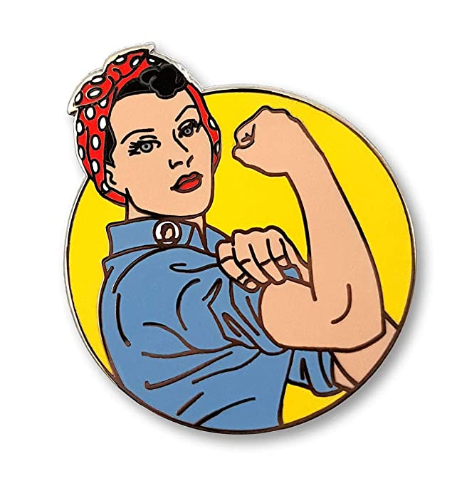 1940s Jewelry Styles and History Pinsanity Rosie The Riveter Enamel Lapel Pin $9.95 AT vintagedancer.com