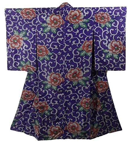 アンティーク 着物 銘仙 正絹 袷 花に唐草模様 裄61cm 身丈141cm