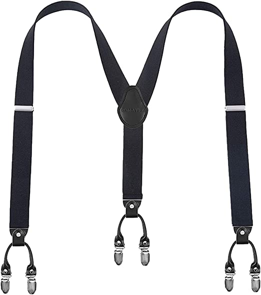 Man/'s Braces Strap Adjustable Y-Back Elastic Braces Leather Suspenders 6 Clips