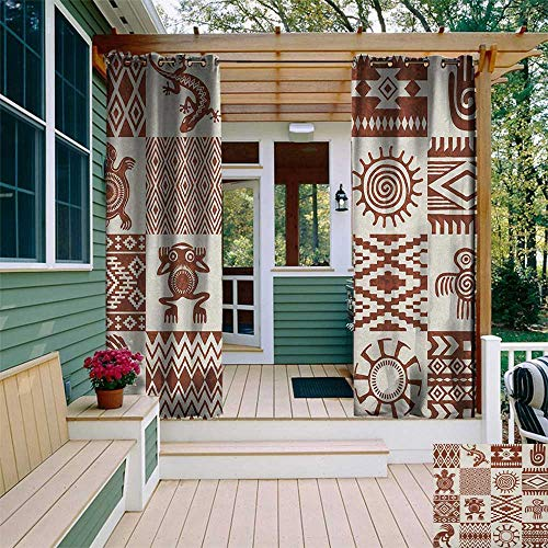 leinuoyi Southwestern, Outdoor Curtain Ends, Frames with Ethnic Native American Patterns and Symbols Grunge Look, for Patio Furniture W96 x L108 Inch Redwood and Eggshell