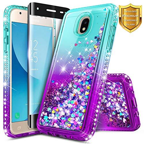 Galaxy J7 2018 Case, J7 Refine/J7 Crown/J7 Star/J7 TOP J7 V 2nd Gen/J7 Aura with Tempered Glass Screen Protector for Girls Kids Women, NageBee Glitter Liquid Sparkle Waterfall Cute Case -Aqua/Purple