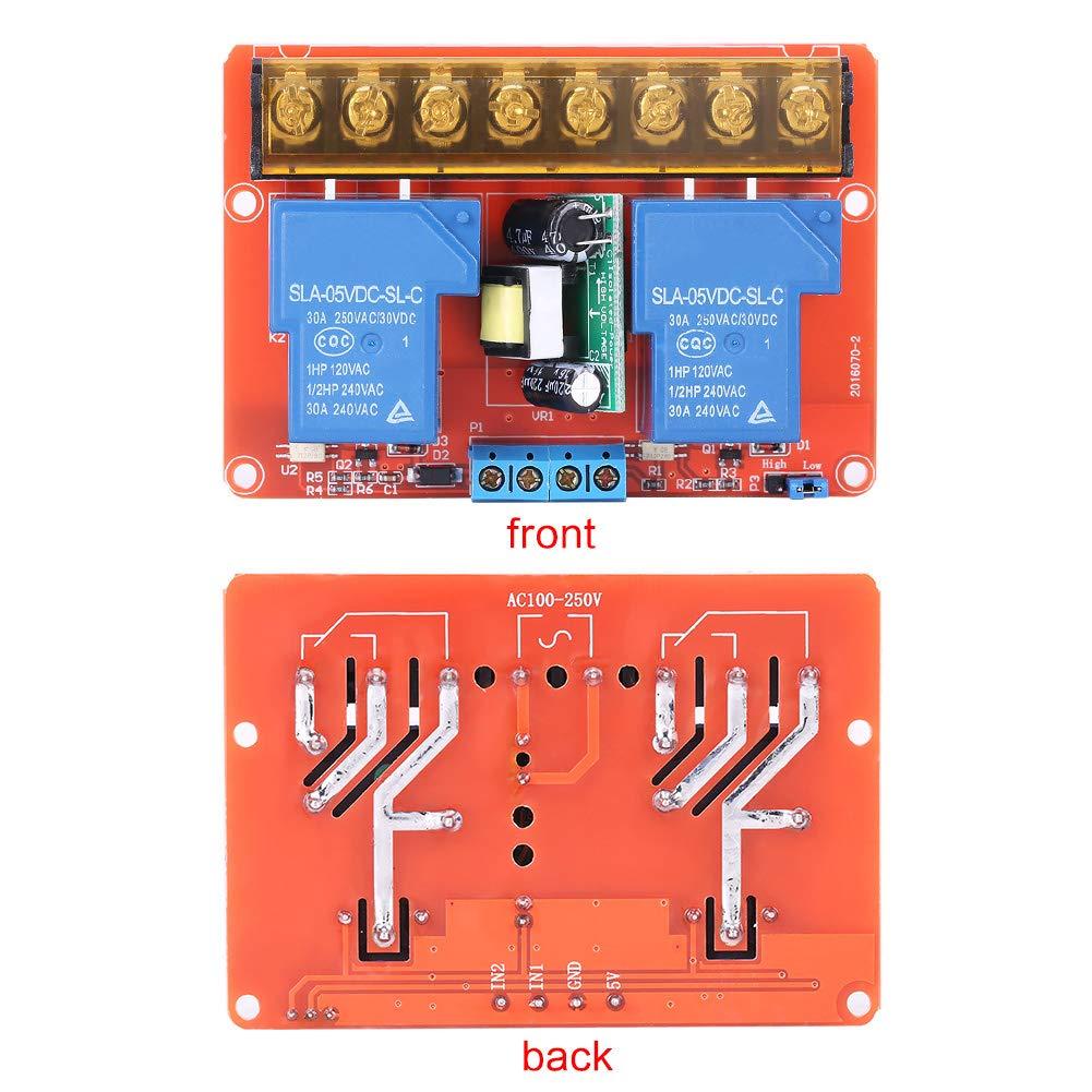 Nitrip AC100V-250V 30A Hochleistungs-2-Kanal-Relais DC5V High-Low-Level-Trigger-Schaltermodul