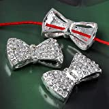 Ottery Silver Small Size 29*17*7mm Crystal Rhinestones Bow Tie Bracelet Connector Beads(not as large size as the picture)