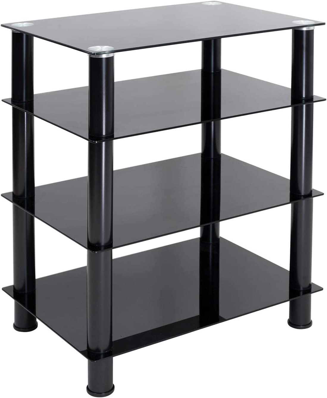 Mount-It! Tempered Glass AV Component Media Stand, Audio Tower and Media Center with 4 Shelves, 88 Lbs Capacity, Black Silk (MI-8670)