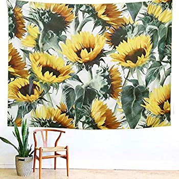 ARFBEAR Sunflower Tapestry, Forever Wall Hanging Warm Golden Yellow and Green Wall and Home Decor 79x59 Inches (Large)