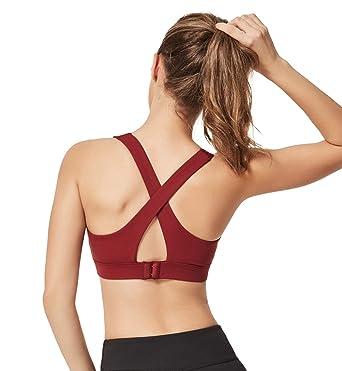 a12252cede271 Yvette Women's Sports Yoga Bra Full Figure Cross X-Back Wide Strap Workout  Bra for