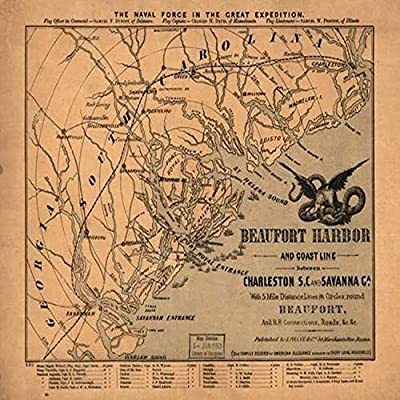 Beaufort Harbor And Coast Line Between Charleston Sc And Savannah Ga With 5 Mile Distance Lines In Circles Round Beaufort And Rr Connections Roads Indicates Ships In Beaufort Harbor And A Few