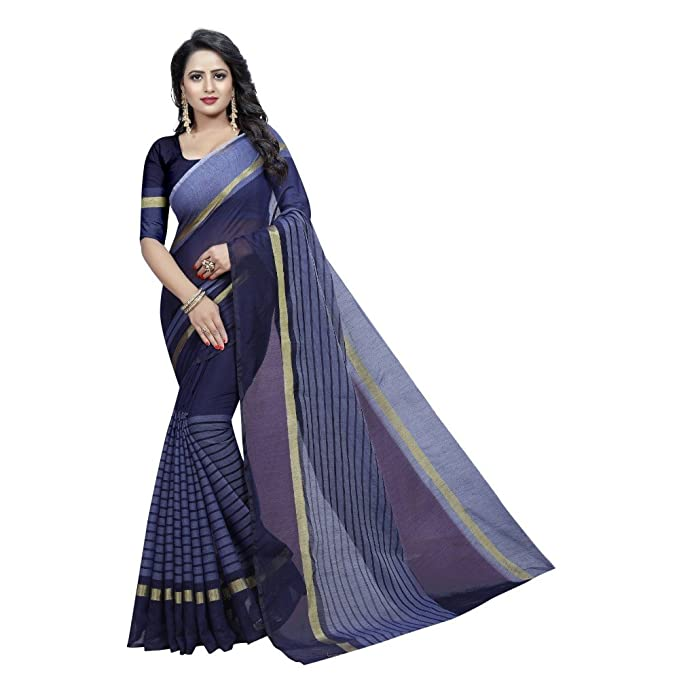 41a1a8691fadd Ramdev Creation Purple Colour Cotton Saree With Blouse Picecs For Womens   Amazon.in  Clothing   Accessories